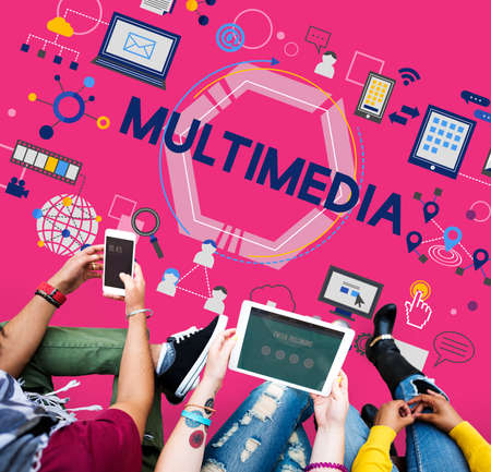animation teenagers: Multimedia Entertainment Channels Audio Content Concept