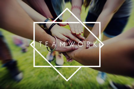 team hands: Teamwork Team Building Cooperation Relationship Concept Stock Photo