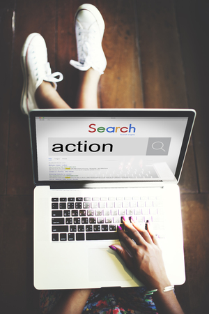 Online search for action on laptop concept Stok Fotoğraf - 108967392