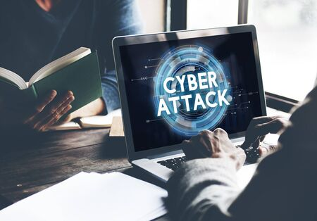 cyber attack: Cyber Attack Hacker Phishing Security System Concept Stock Photo