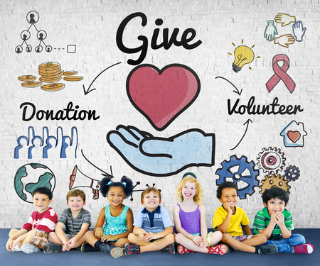 smile please: Give Donations Volunteer Welfare Support Concept Stock Photo