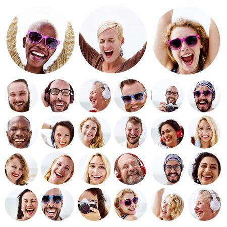 active adult community: People Set of Faces Diversity Human Face Concept