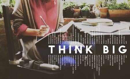 optimismo: Think Big Fe concepto actitud, inspiraci�n optimismo