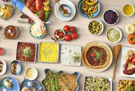 Food Festive Restaurant Party Unity Concept Stock Photo