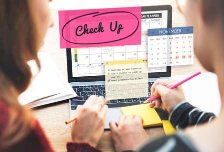 up do: Check up Event To Do List Headline Concept