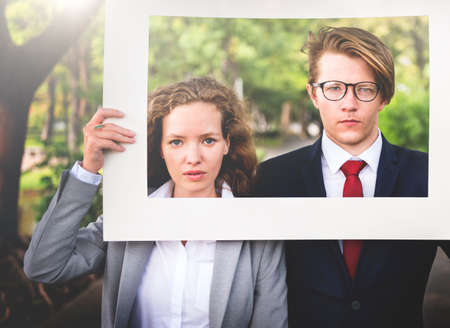 show garden: Business People White Picture Frame Concept