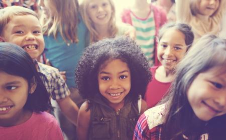 variation: School Children Cheerful Variation Concept