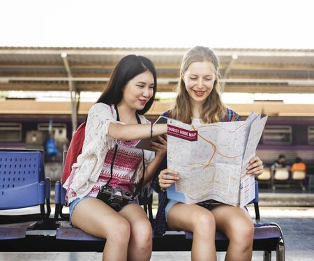 Girls Friendship Hangout Traveling Holiday Map Concept Фото со стока - 55163394