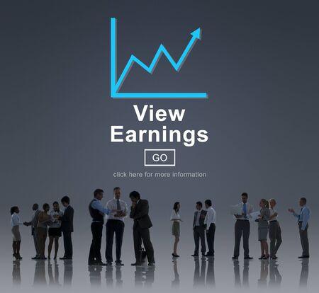 ganancias: View Earnings Cash Economy Finance Income Concept Foto de archivo