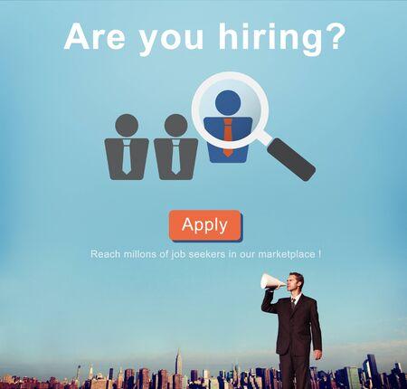 trabajo: ¿Estas contratando? Trabajo Carrera Concepto Recursos Humanos Foto de archivo