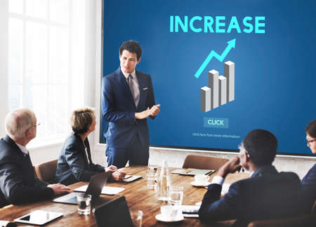 escalate: Increase Growth Rise Elevation Enlarge Expansion Concept Stock Photo