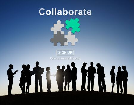 collaborate: Collaborate Join Partnership Support Togetherness Concept Stock Photo