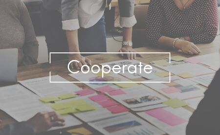 cooperate: Cooperate Agreement Collaboration Partnership Concept Stock Photo