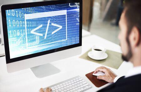 Binary Code Html Web Programming Concept Stock Photo