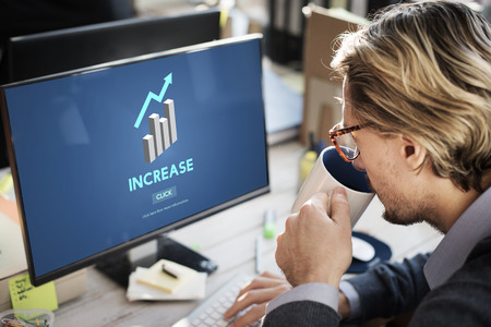 elevation: Increase Growth Rise Elevation Enlarge Expansion Concept Stock Photo