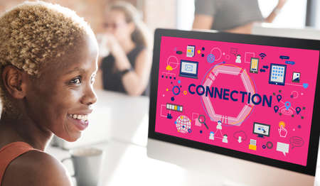african woman at work: Connection Social Media Networking Communication Togetherness Concept