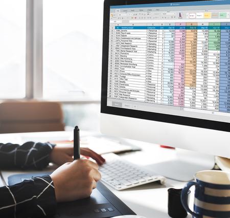 Spreadsheet Document Information Financial Startup Concept Banco de Imagens - 55178088