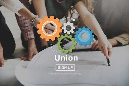 business gears: Union Unity Team Community United Concept