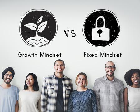 Mindset face Positivity Négativité Concept Penser Banque d'images