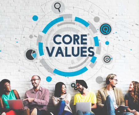 valores morales: Principios Básicos Valores ideología Concepto propósito moral Foto de archivo