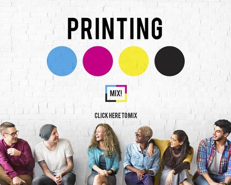 Offsetdruckverfahren Ink Farbindustrie Medienkonzept Standard-Bild