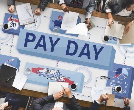 salarios: Día de cobro de cheque Rendimientos del trabajo Salarios Pagos Concept Foto de archivo