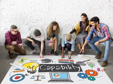 planning strategy: Ability Achievement Inspiration Improvement Capability Cocnept Stock Photo