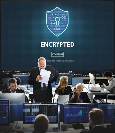 encrypted: Encrypted Data Privacy Online Security Protection Concept