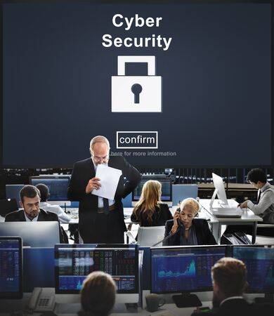 financial occupation: Cyber Security Protection Firewall Interface Concept Stock Photo