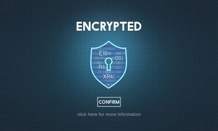 data privacy: Encrypted Data Privacy Online Security Protection Concept
