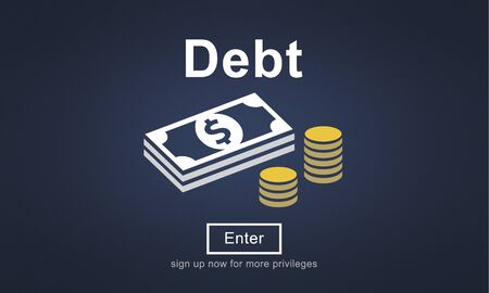 in problem: Debt Loan Credit Money Financial Problem Concept Stock Photo