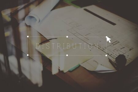 issuing: Distribution Issuing Objects Place of Work Concept Stock Photo