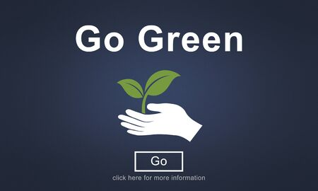 carbon footprint: Go Green Conservation Ecology Environmental Concept Stock Photo