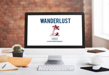 wanderlust: Wanderlust Travel Tourism Destination Concept
