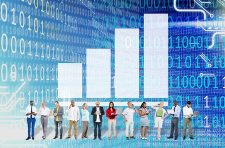 business performance: Bar Graph Diagram Achievement  Research Strategy Concept Stock Photo