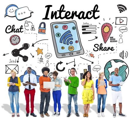 Interact Interaction Interactive Interacting Group Concept Stock Photo