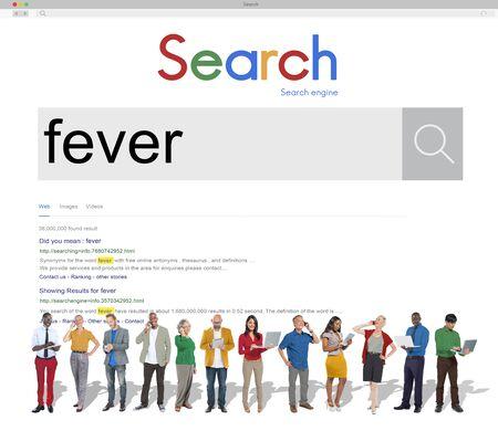 body temperature: Fever Headache Heat Body Temperature Illness Concept Stock Photo