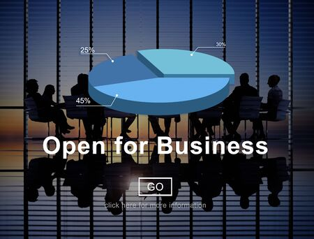 open business: Open for Business Partnership Industry Concept