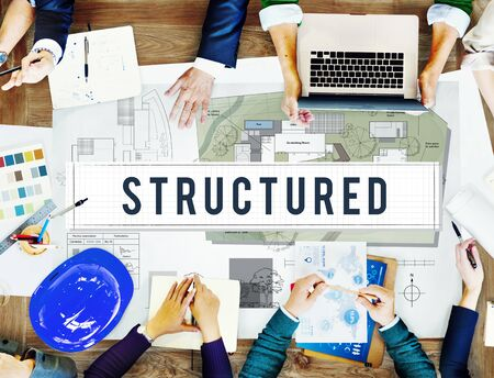 Structured Building Construction Design Plan Concept Stock Photo