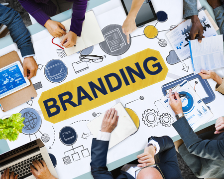 Business meeting with branding concept