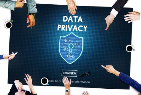 data privacy: Data Privacy Online Security Protection Concept