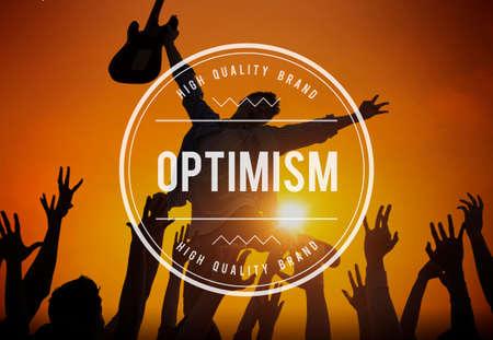 optimismo: El optimismo pensamiento positivo Concepto Actitud de Outlook Foto de archivo
