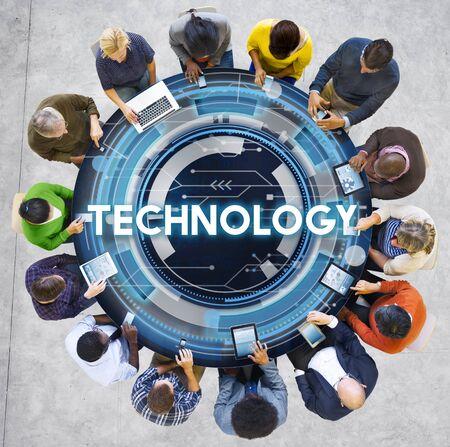 net meeting: Technology Hud Future Digital Media Innovation Concept Stock Photo