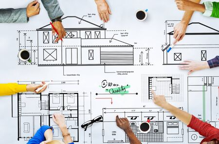 technical university: Blueprint Architect Construction Project Sketch Concept Stock Photo