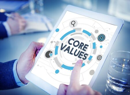 valores morales: Core Values Principles Ideology Moral Purpose Concept Foto de archivo