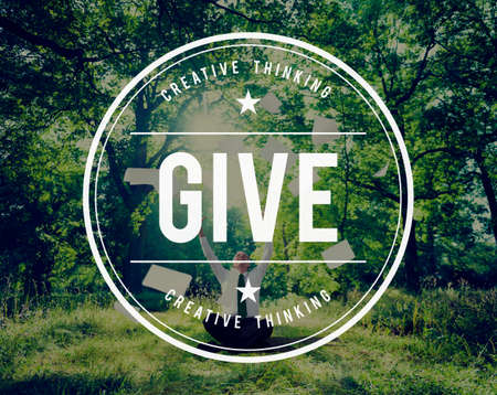 away from it all: Give Give Back Helping Hand Charity Donate Concept