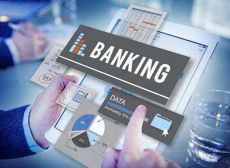 Bank-, Financie- Besparingen Beheer Concept Stockfoto