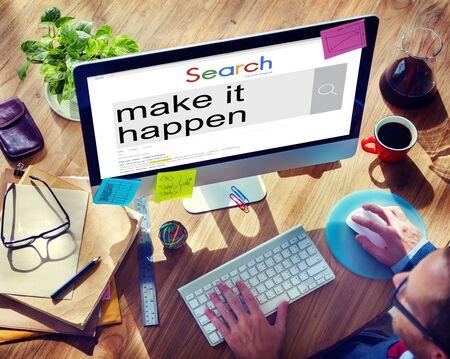 new thinking: Make It Happen New Ways Positive Thinking Proactive Concept Stock Photo