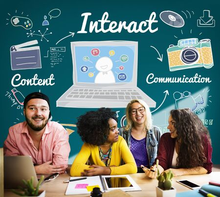 interacting: Interact Interaction Interactive Interacting Group Concept Stock Photo