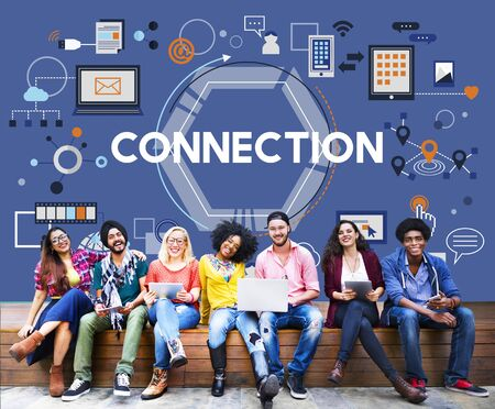 college students campus: Connection Social Media Networking Communication Togetherness Concept
